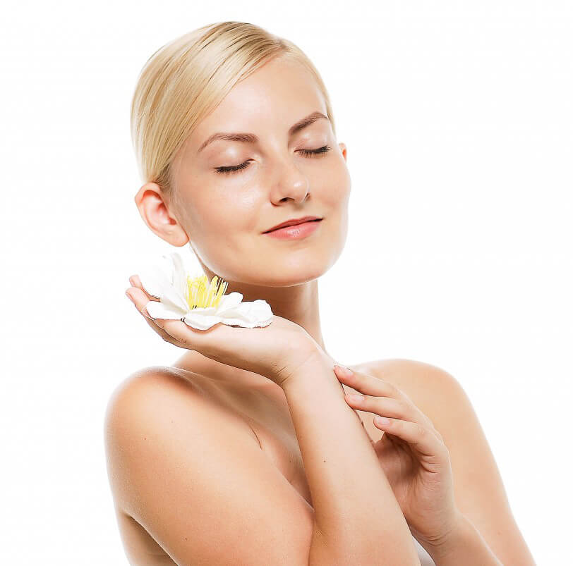 Skin Care Girl with flower